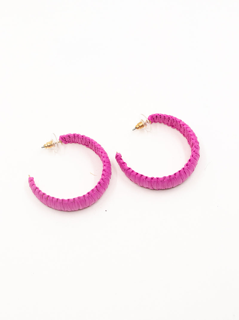 Bright Days Pink Woven Hoops