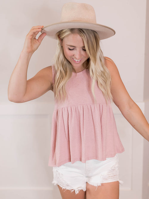 Dusty Pink Ruffle Tank
