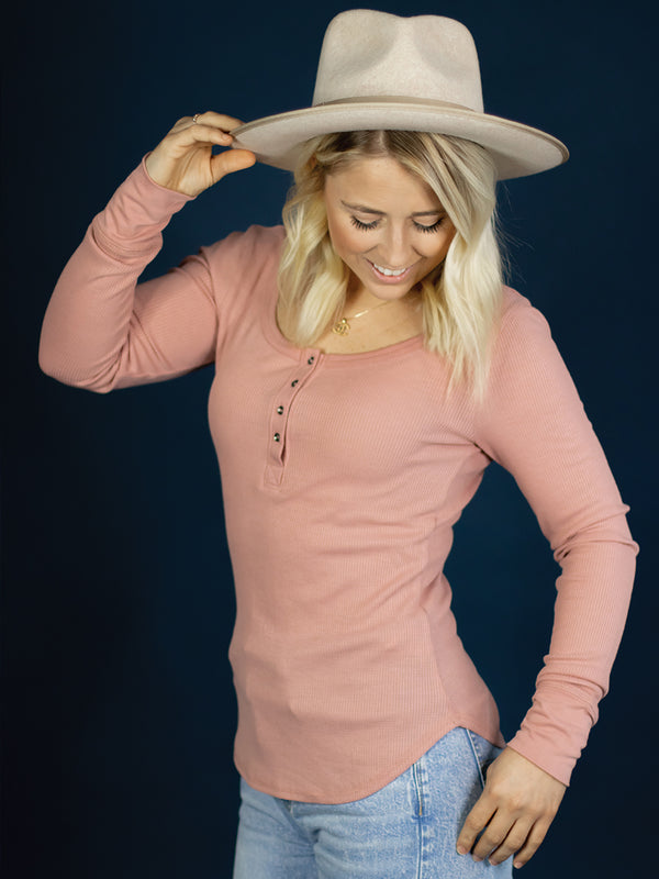 Pink Everyday Button Henley