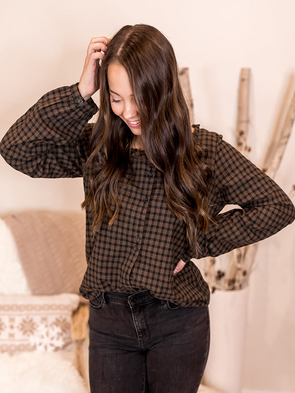 Poinsettia Plaid Button Down Top