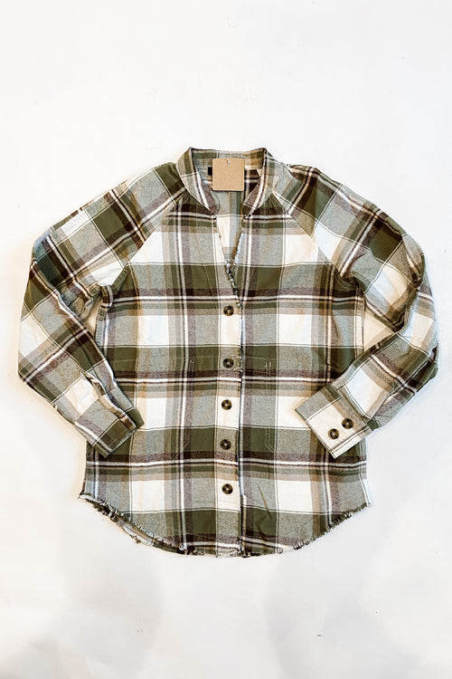 Navy and green plaid flannel button up
