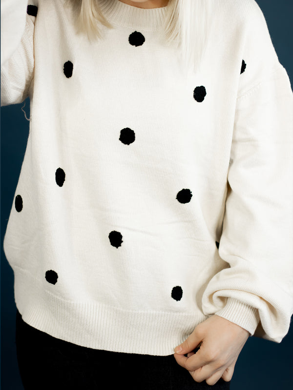 Polly Black Polka Dot Sweater