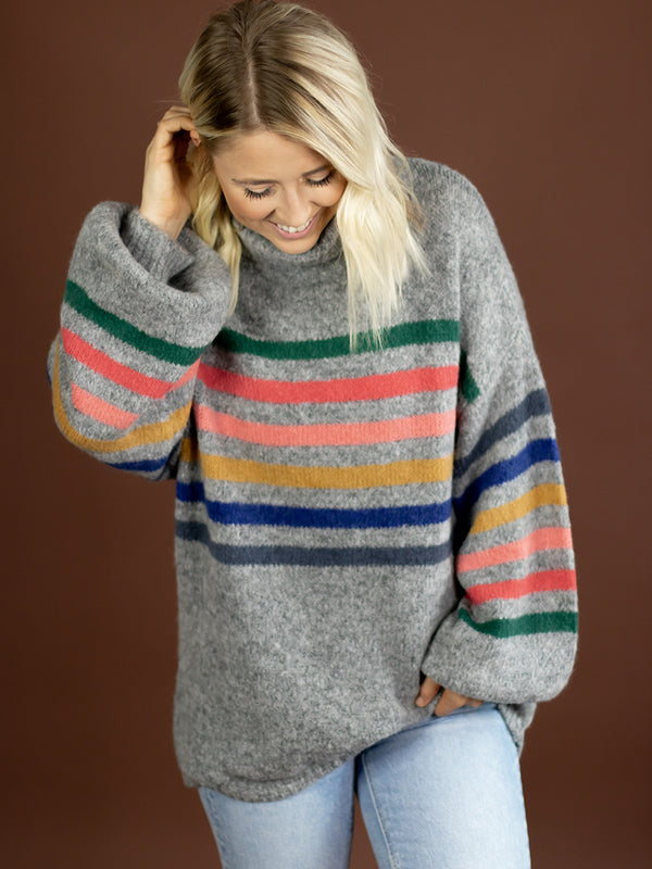 Rainbow Turtle Neck Sweater