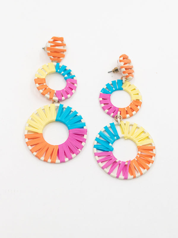 MultiColor Raffia Drop Earring