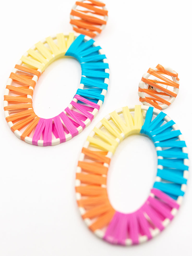 MultiColor Raffia Drop Earrings