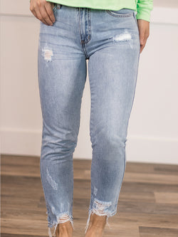 Cropped Mid Rise Mom Jean