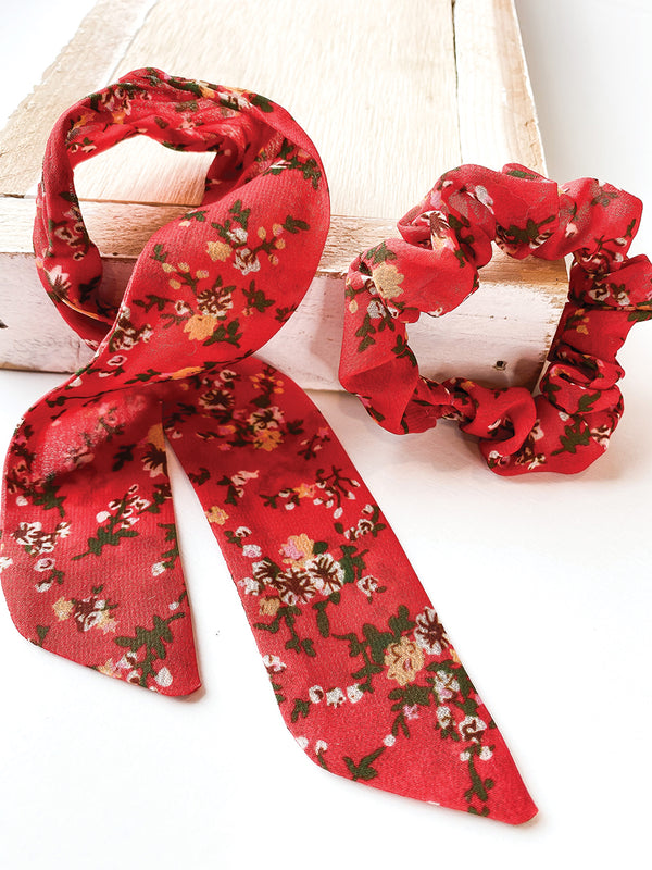 Red Floral 2 in 1 Scrunchie