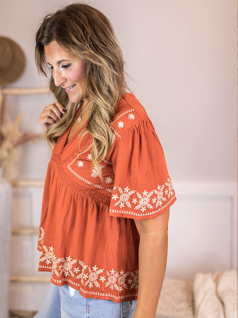 Tia Rust Embroidered Blouse