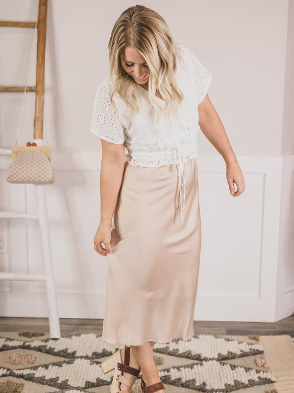 Champagne Satin Textured Skirt