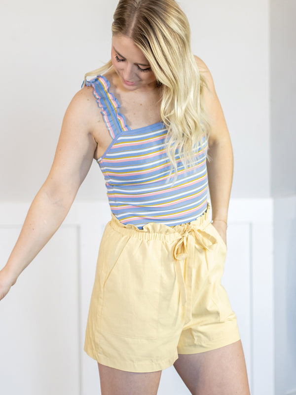 Veronica Yellow Paper Bag Shorts