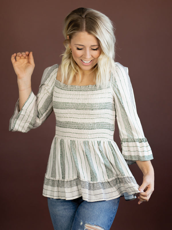 Anise Smocked Stripe Peplum Top