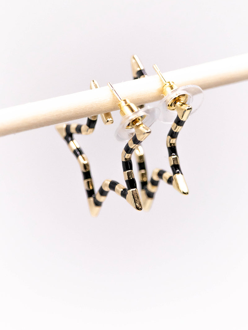 Mini Black Stripe Star Earring