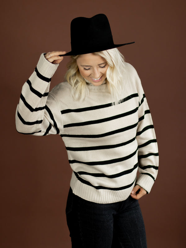 Charcoal Stripe Brushed Sweater