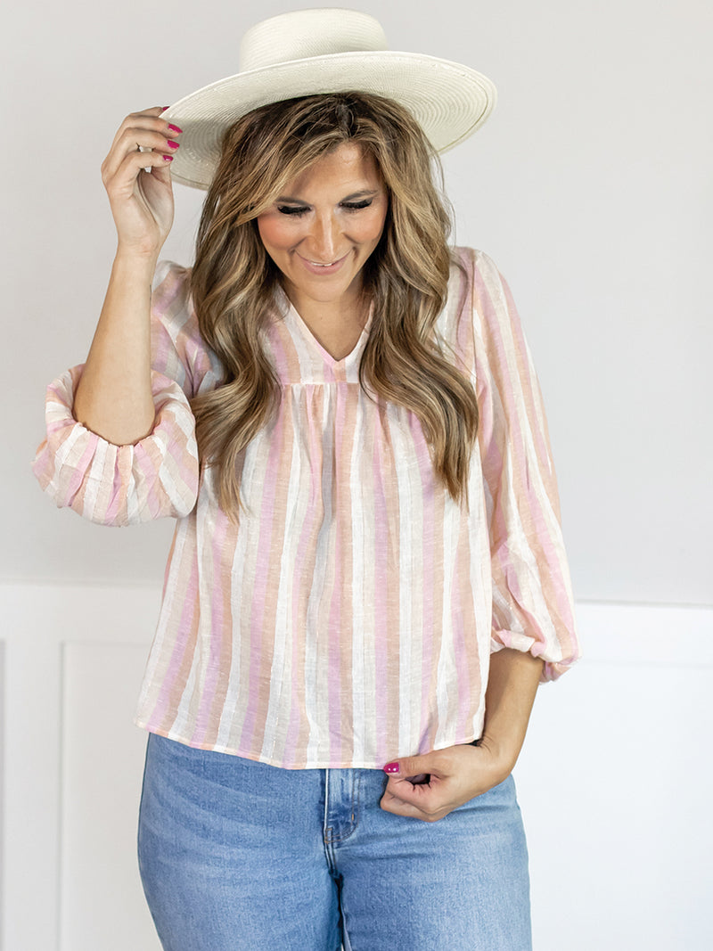 Landon Blush Stripe Linen Blouse