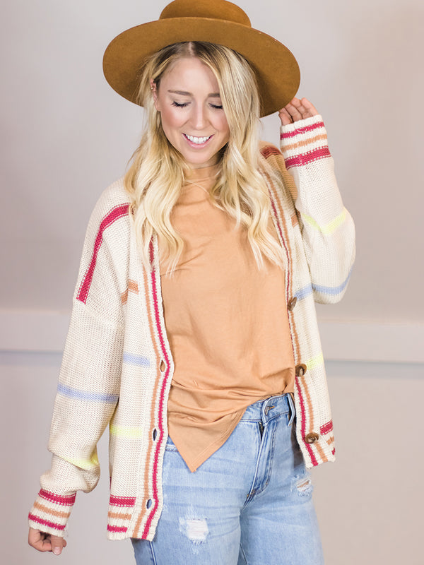 Jenna Pastel Multi Stripe Button Cardi