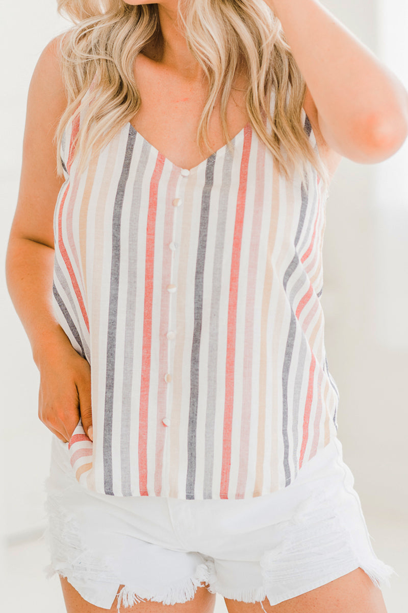 June Mixed Stripe Button Tank