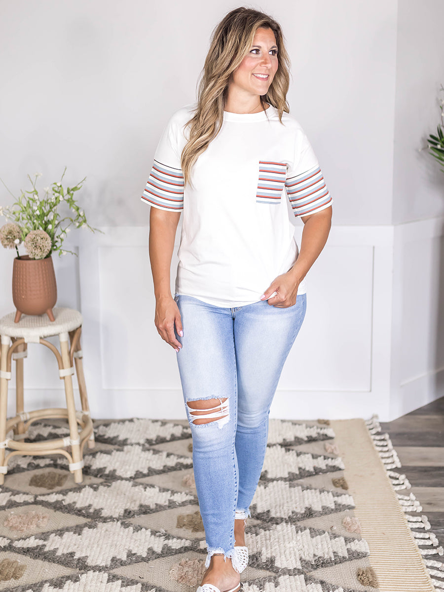 Contrast Stripe Pocket Tee