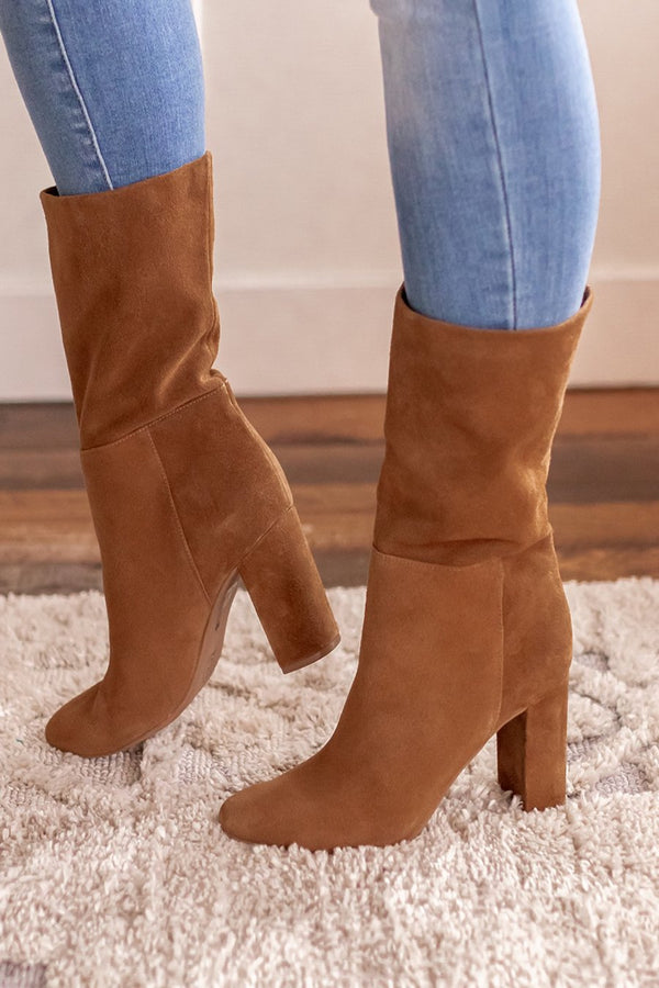 Keep Up Brown Suede Bootie