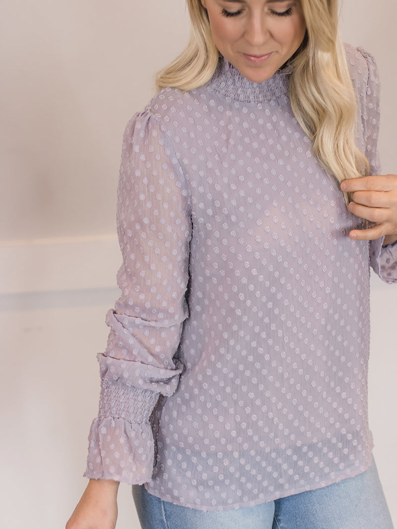 Swiss Dot Mock Neck Blouse