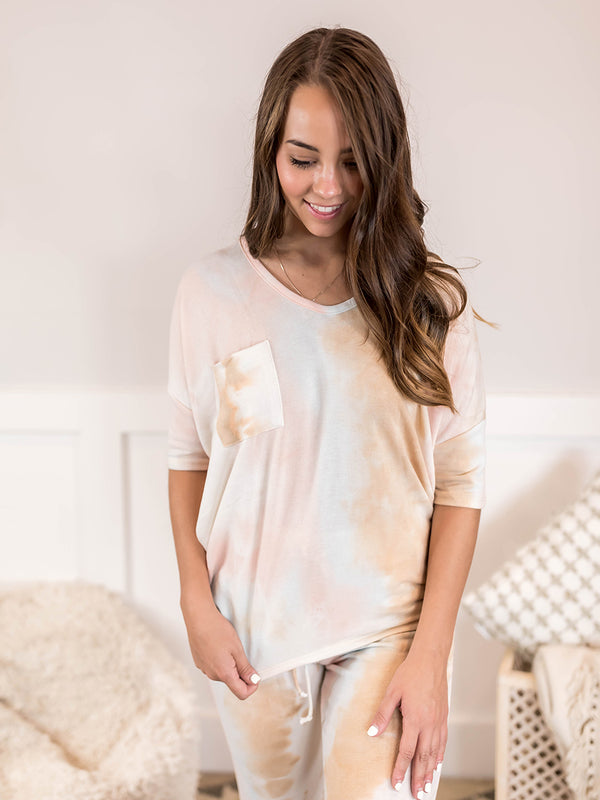 Pastel Tie Dye Pocket Top