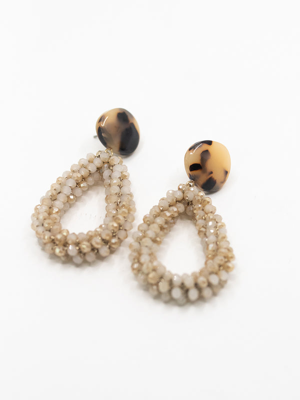 Tortoise Shell Beaded Earring