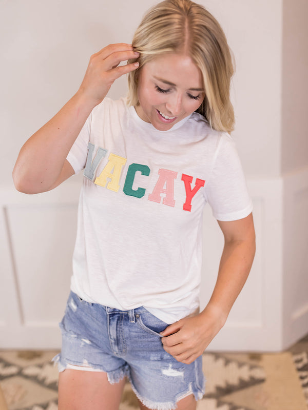 """VACAY"" Stitched Tee"