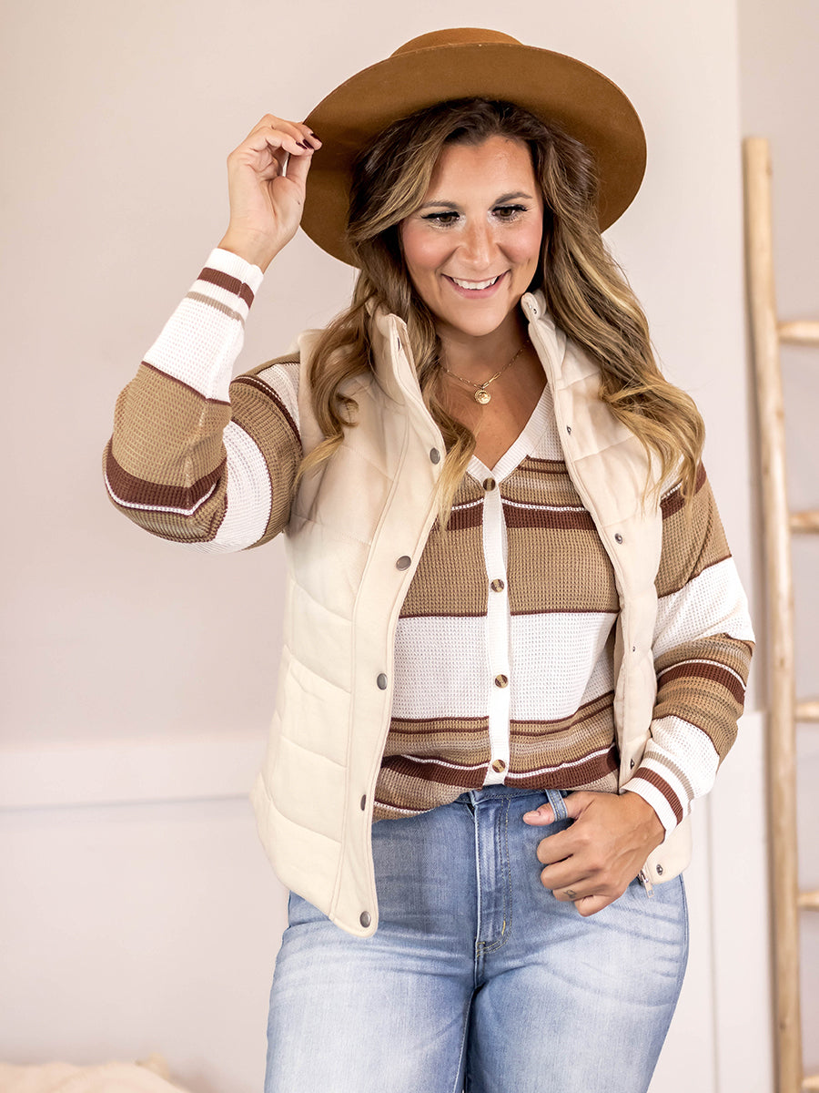 Camel Knit Duster Sweater Vest