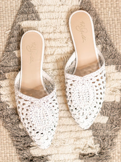 Charmed White Leather Mule