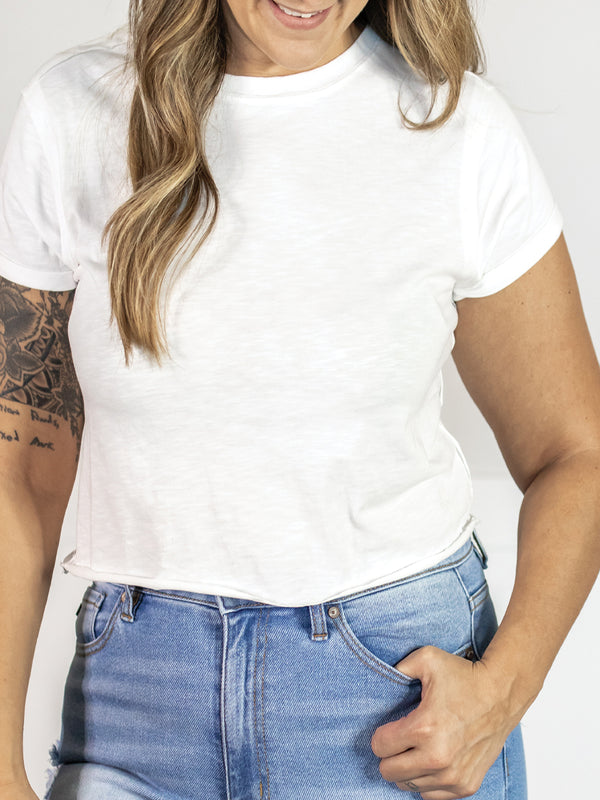Everyday Raw Hem White Crop Tee