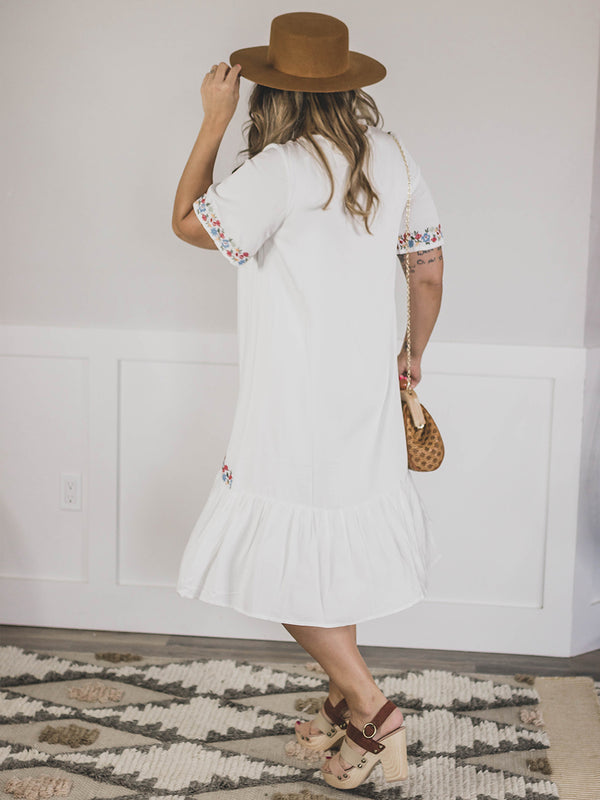 Ashby White Embroidered Dress