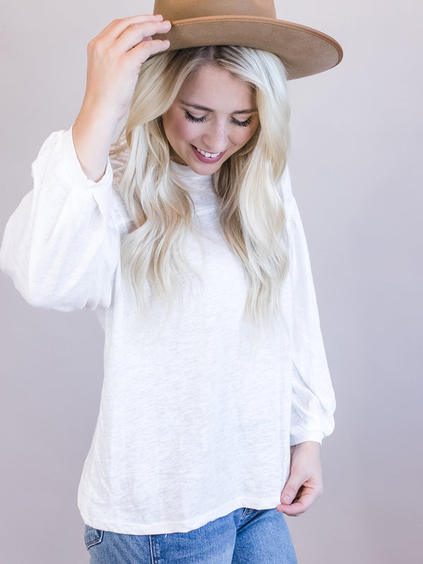White Top, Balloon Sleeve, Flowly White Top