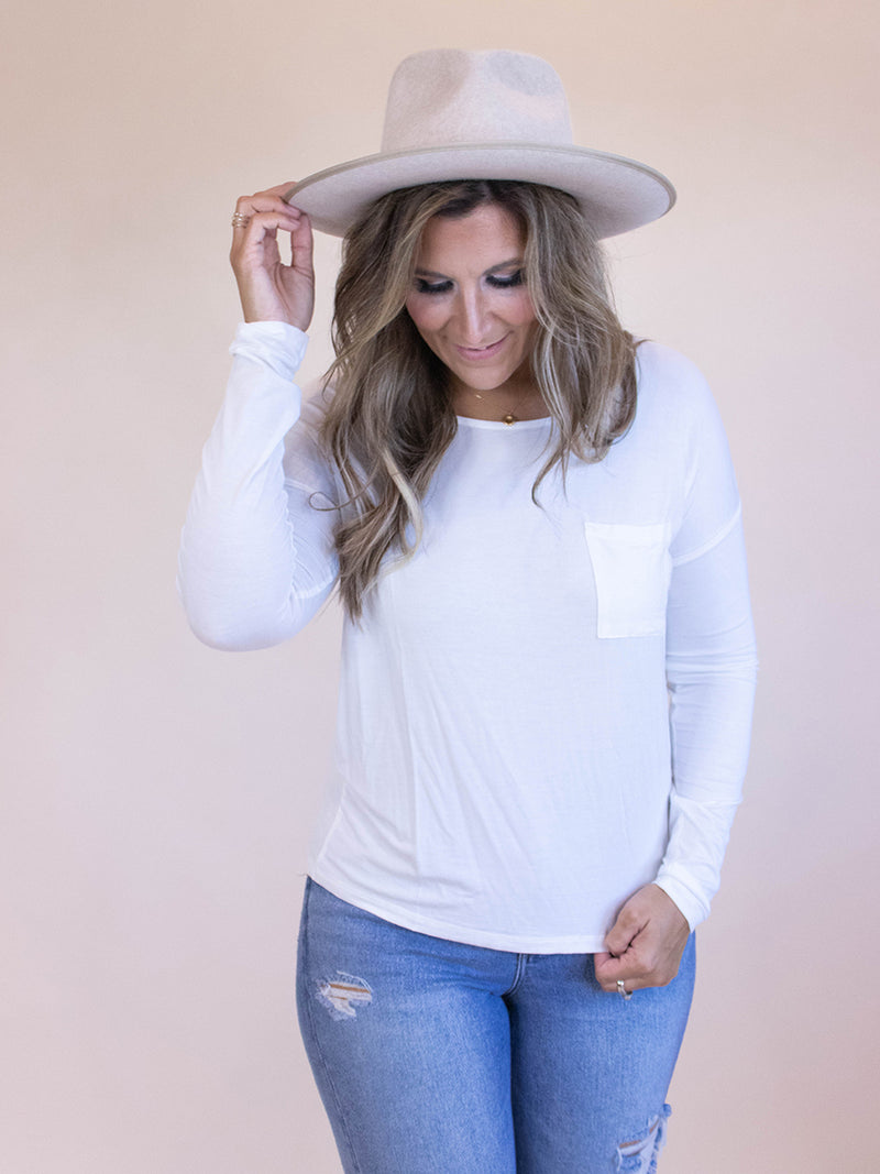 Everyday White Long Sleeve Pocket Tee