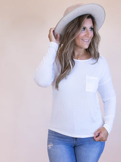White Long Sleeve Tee, Long Sleeve Tee, Pocket Tee