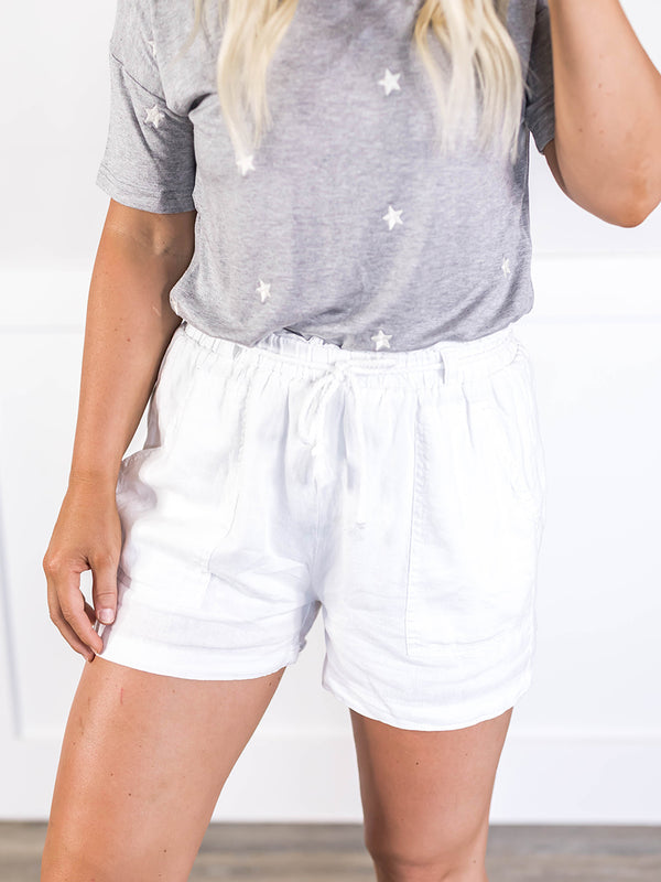 Set Sail White Linen Shorts
