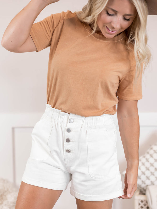 Anny White High Waisted Shorts
