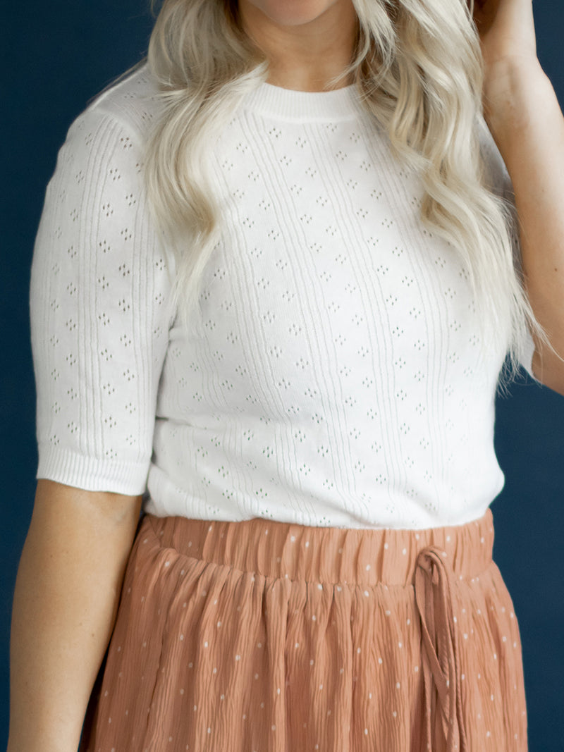 Myla White Eyelet Sweater