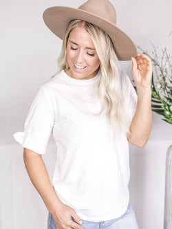 Everyday White Ruffle Sleeve Tee