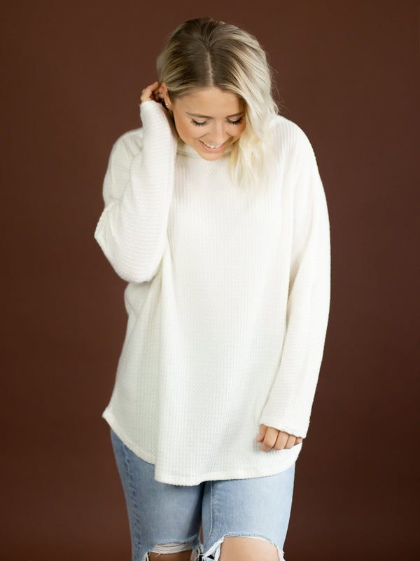Cozy White Waffle Top