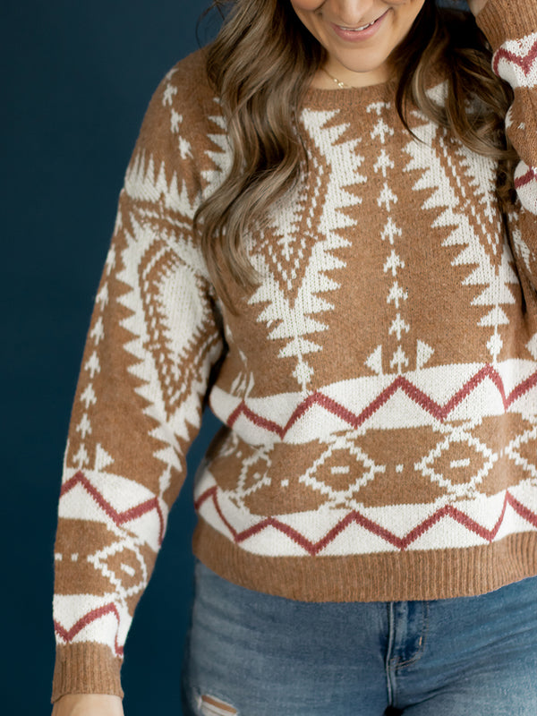Brinn Boho Printed Sweater