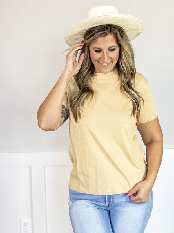 Everyday Raw Hem Sleeve Yellow Tee