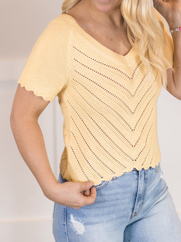 Pennie Pointelle Crop Sweater