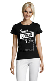 Women's Black Graphic T-Shirt - Front - ULTRABASIC