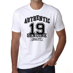 19, Authentic Genuine White, Men's Short Sleeve Round Neck T-shirt 00121 - ultrabasic-com