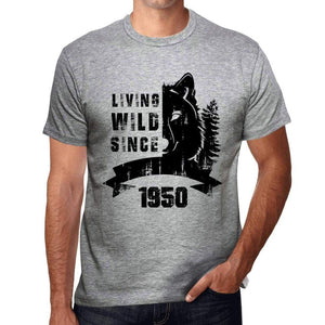1950, Living Wild Since 1950 Men's T-shirt Grey Birthday Gift 00500 ultrabasic-com.myshopify.com