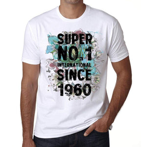 1960, Super No.1 Since 1960 Men's T-shirt White Birthday Gift 00507 ultrabasic-com.myshopify.com