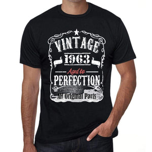 1963 Vintage Aged to Perfection Men's T-shirt Black Birthday Gift 00490 - ultrabasic-com