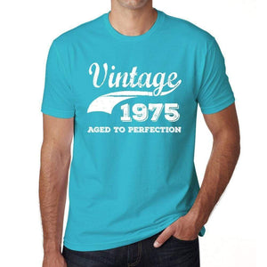 1975 Vintage Aged to Perfection, Blue, Men's Short Sleeve Round Neck T-shirt 00291 - ultrabasic-com