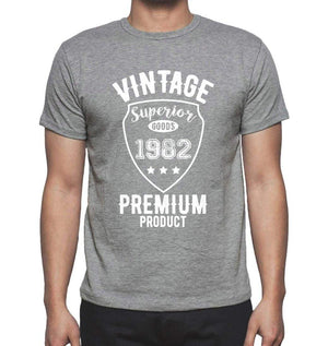 1982 Vintage superior, Grey, Men's Short Sleeve Round Neck T-shirt 00098 - ultrabasic-com