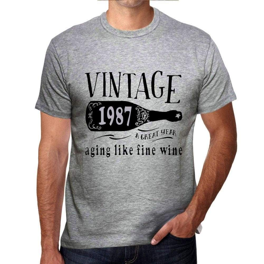 '1987 Aging Like a Fine Wine Men's T-shirt Grey Birthday Gift 00459 - Ultrabasic