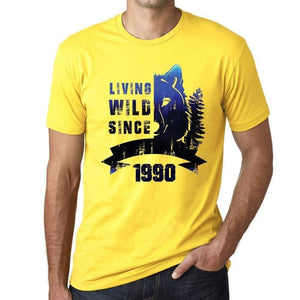 '1990, Living Wild 2 Since 1990 <span>Men's</span> T-shirt Yellow Birthday Gift 00516 - ULTRABASIC